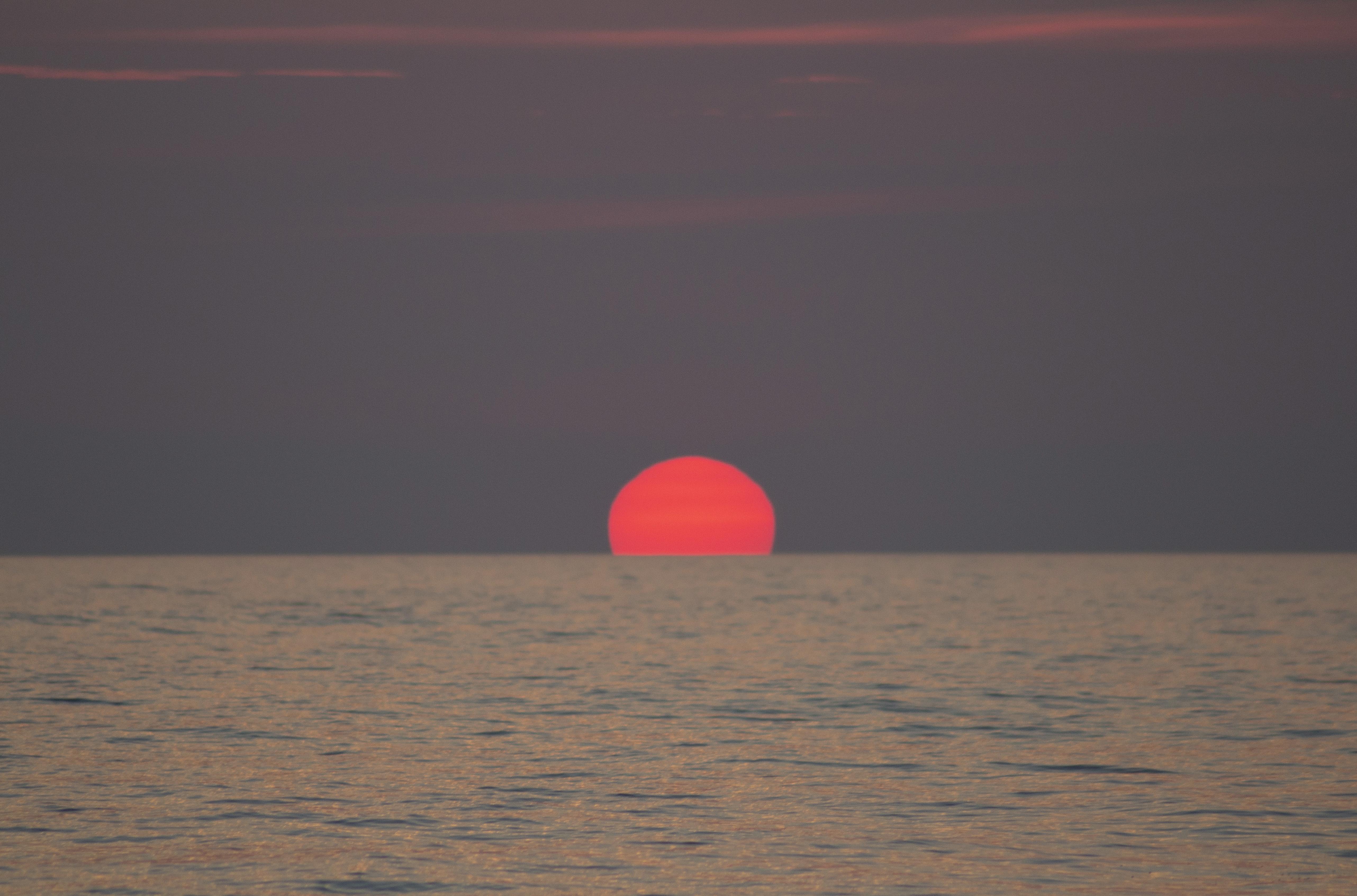 Coucher de soleil pendant la traversée